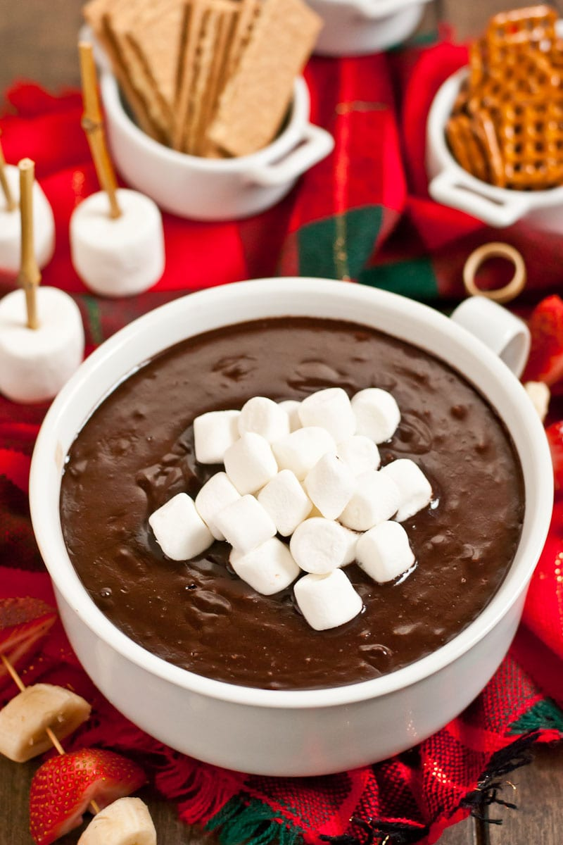 This Hot Chocolate Dip is an easy four ingredient dessert perfect for your holiday parties!