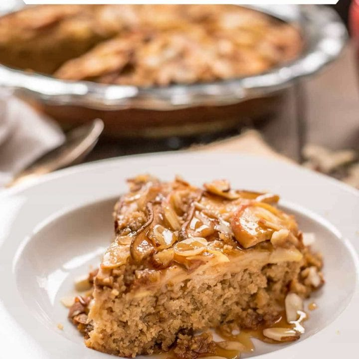This Amish style Baked Oatmeal is topped with apples, pears, and almonds for a hearty breakfast treat.