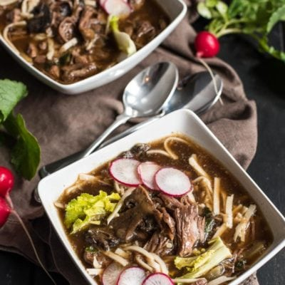 This Slow Cooker Asian Beef and Mushroom Noodle Soup is supremely satisfying comfort food.