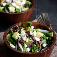 Massaged Kale Salad with Cranberries, Avocado, and Goat Cheese--an easy and healthy recipe for the New Year!