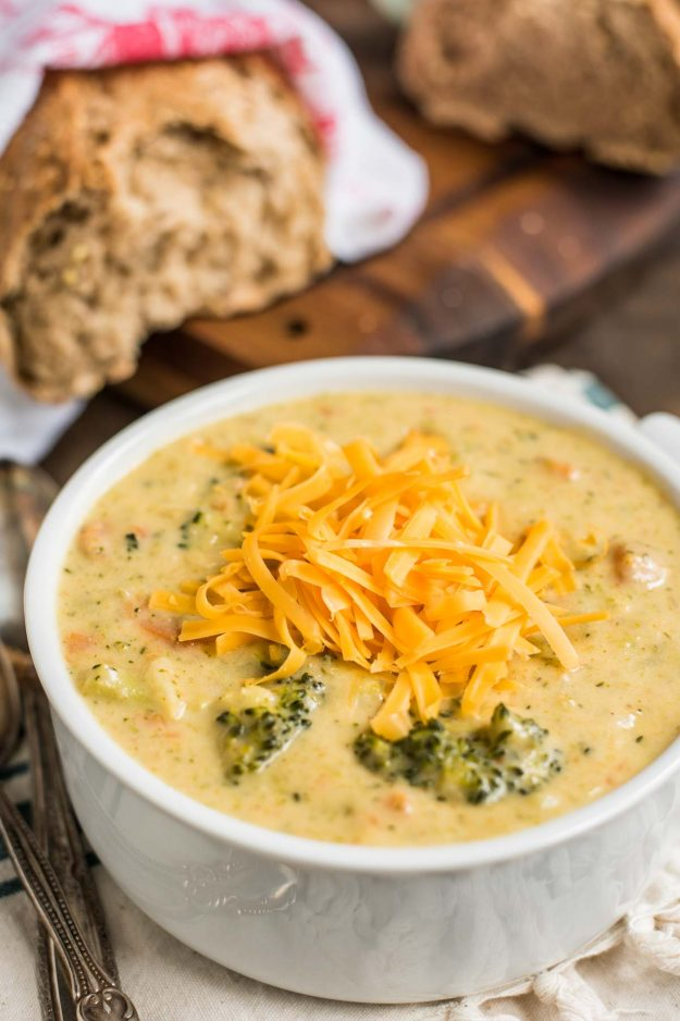 Broccoli Cheddar Soup with more shredded cheese on top