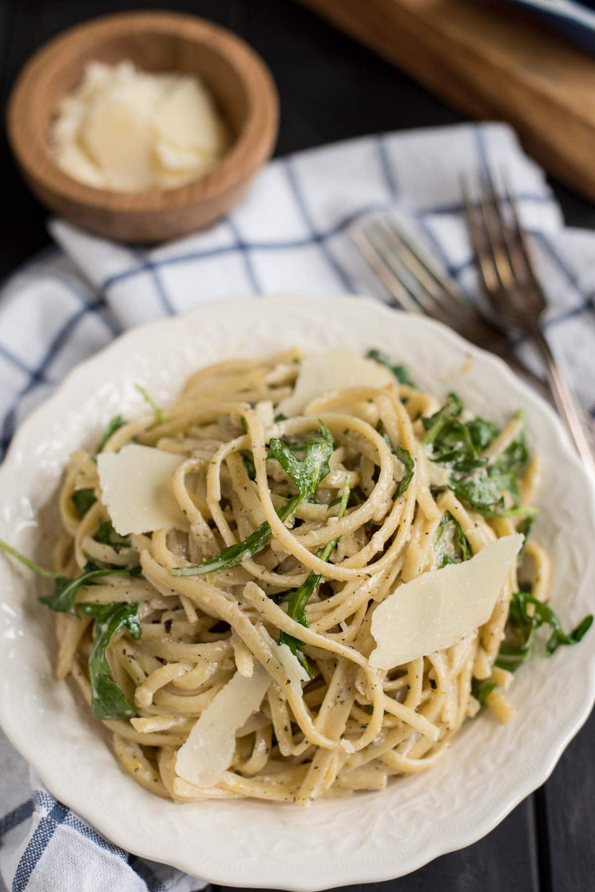 Parmesan Lemon Linguine with Arugula