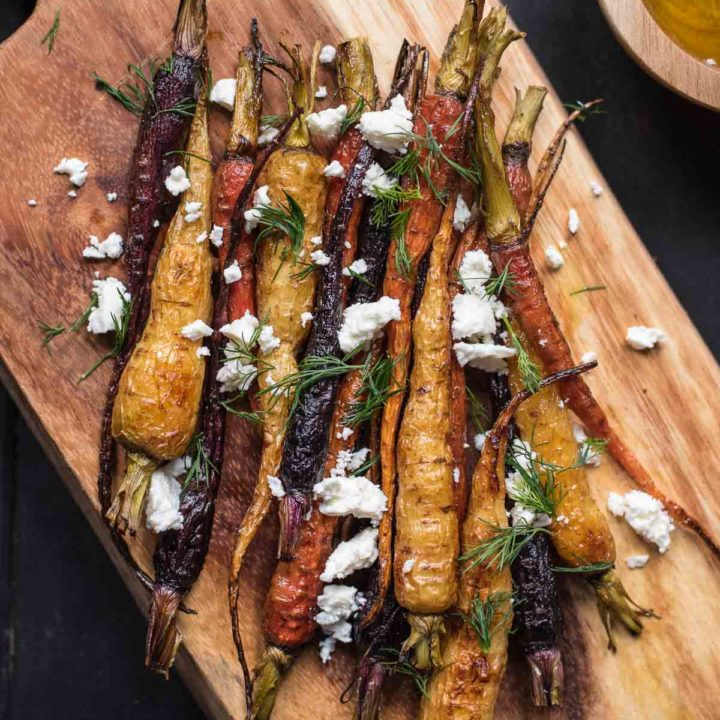 This Warm Roasted Carrot Salad with feta and dill is a great side dish for weeknights or special occasions.