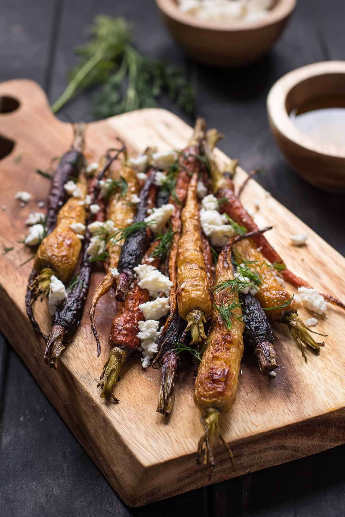 Warm Roasted Carrots with Feta and Dill make a lovely side dish for Easter or any occasion!