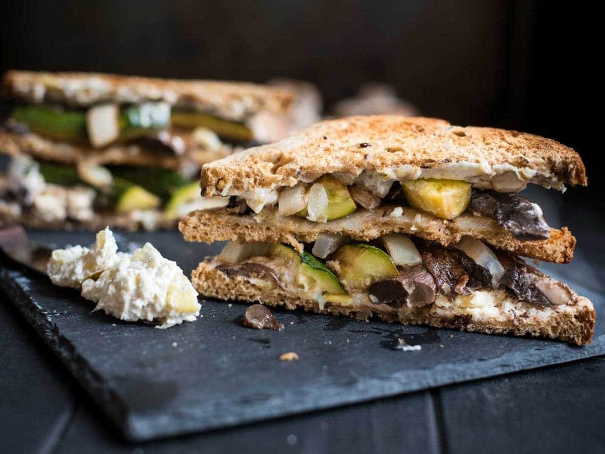 Roasted Portabello Mushroom and Zucchini Veggie Sandwich Recipe