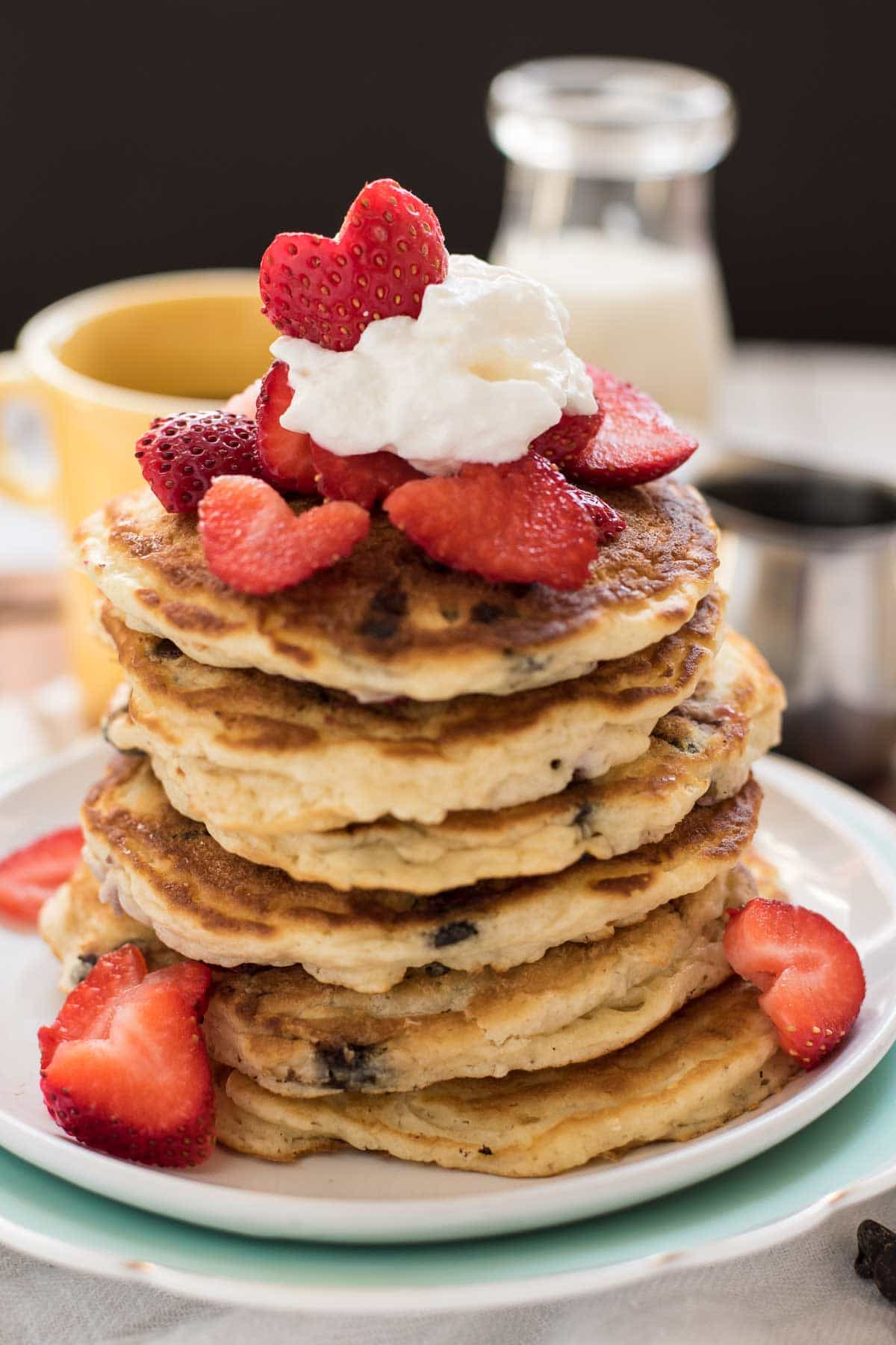 "Nothing says ""I love you"" like a giant stack of Strawberry Chocolate Chip Pancakes!"