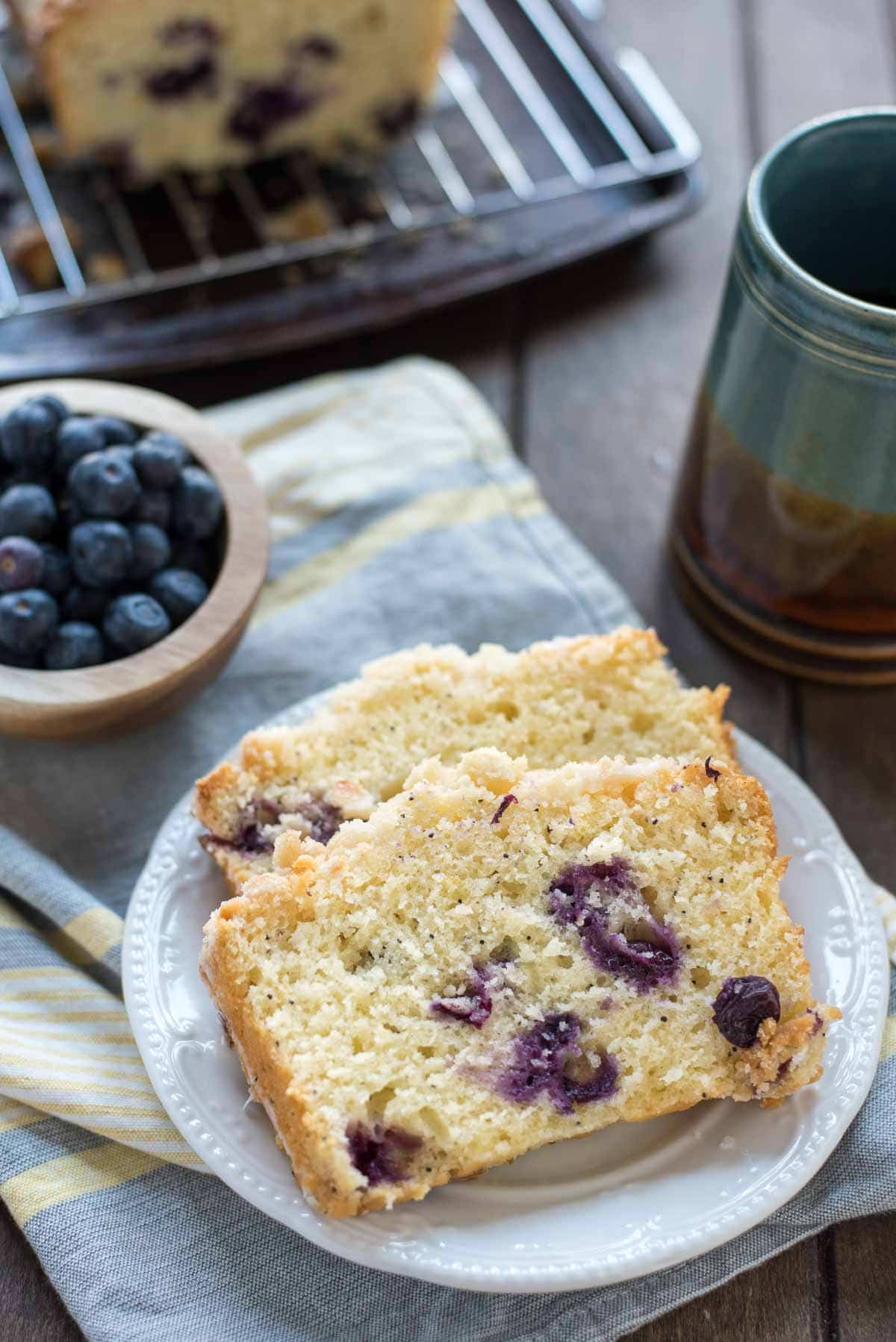 This tangy sweet Lemon Blueberry Crumb Bread is the ultimate spring breakfast treat!
