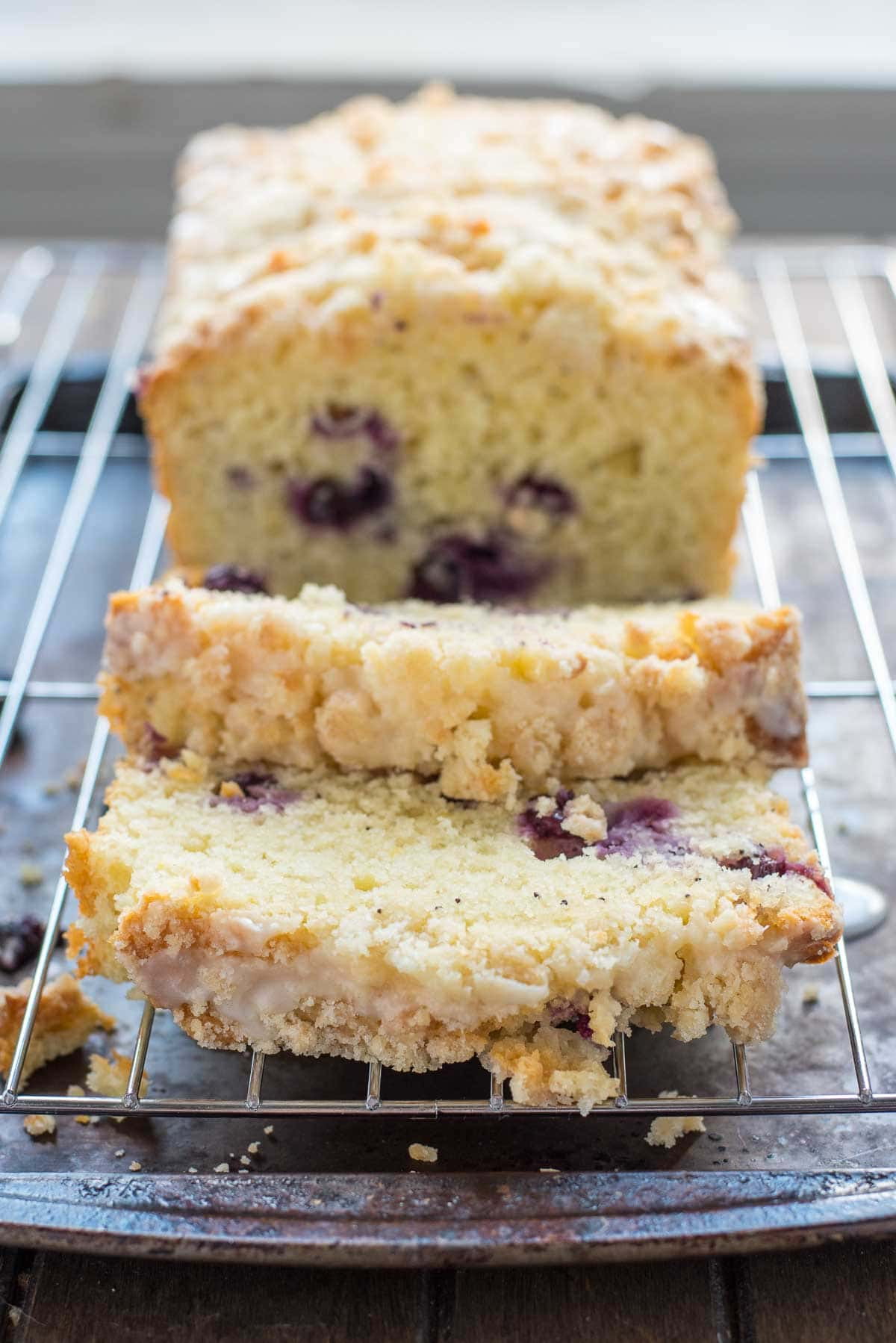 This Lemon Blueberry Crumb Bread is perfect for a spring breakfast, shower, or brunch!