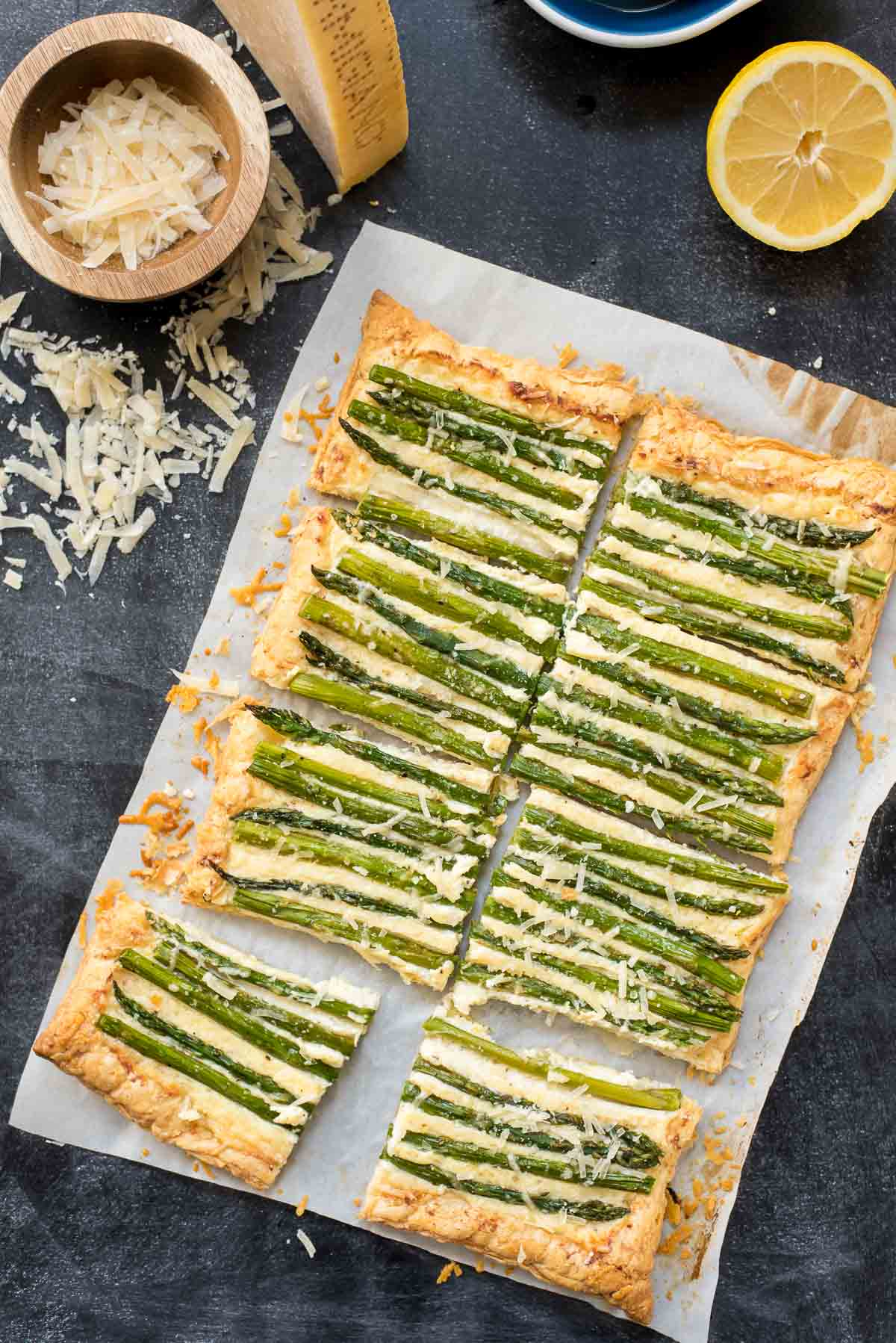 This Parmesan Asparagus Tart is a bright, easy appetizer for spring!
