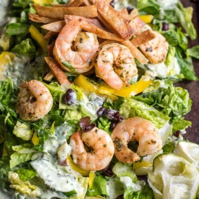 This Shrimp Taco Salad is the perfect crispy, crunchy, fresh weeknight meal!