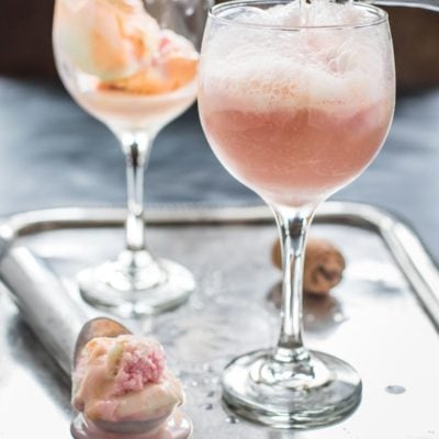 These Pink Champagne Floats with rainbow sherbet are the perfect dessert for Valentine's Day, Mother's Day, or bridal showers.