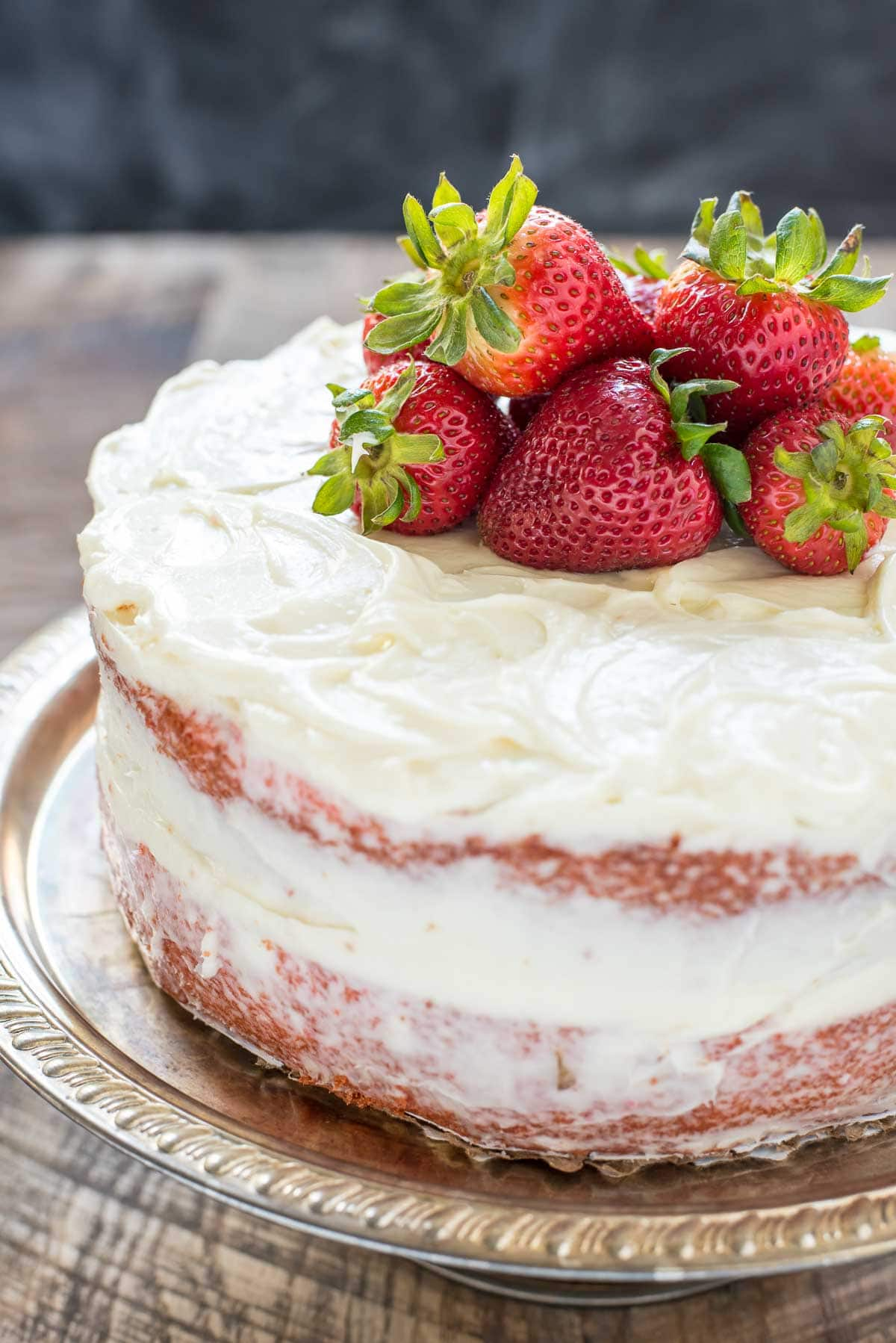 Strawberry Layer Cake on a silver plate