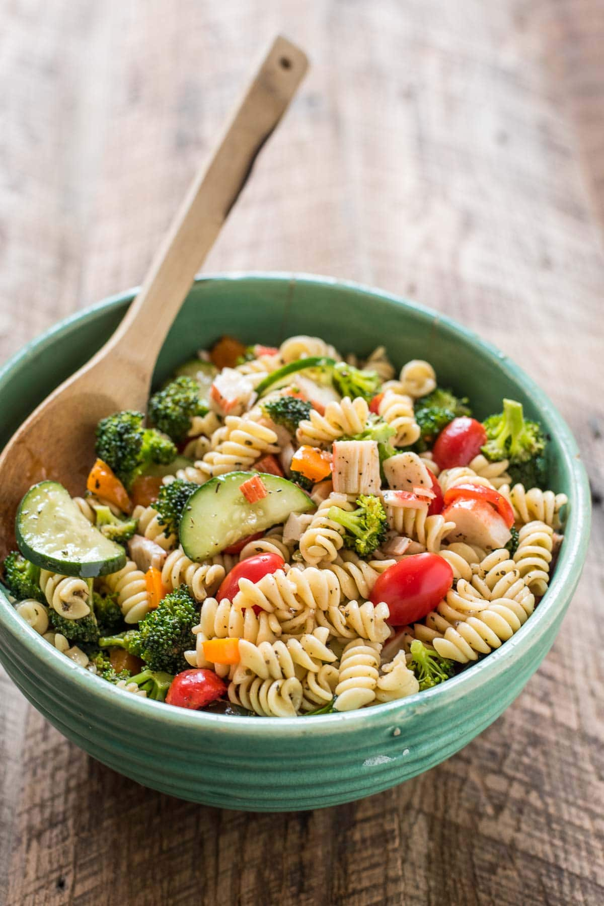 This Greek Pasta Salad with Feta and Crab is light, refreshing, and perfect for summer get togethers!