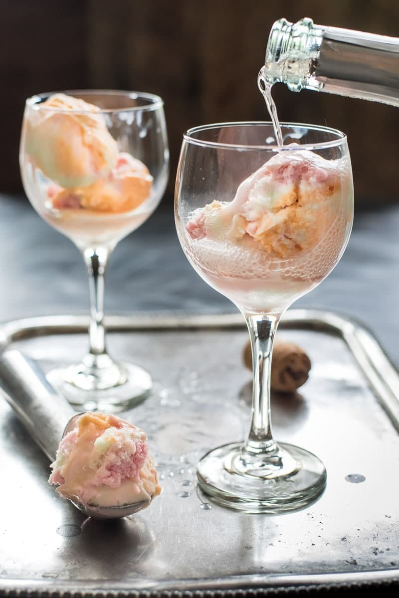 These Champagne Floats made with rainbow sherbet are such a fun and easy celebration drink!