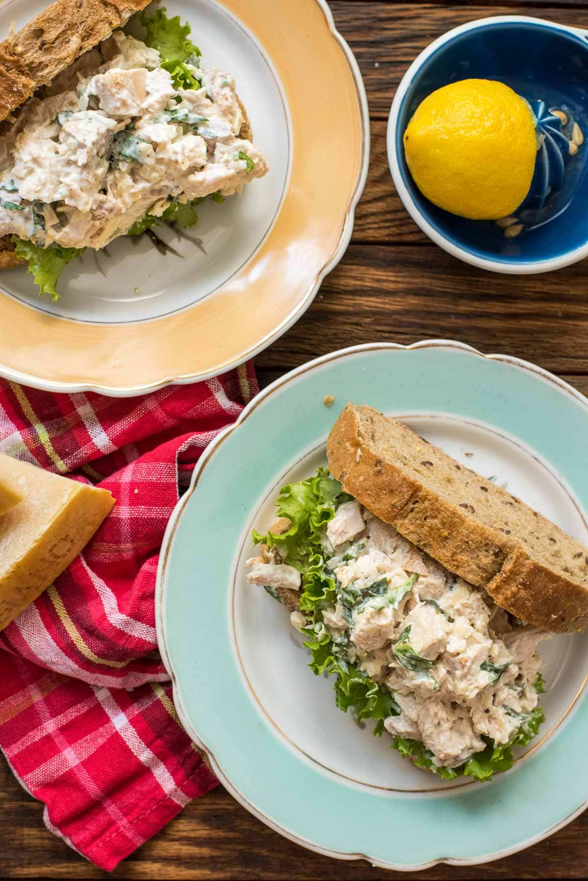 This Parmesan Basil Chicken Salad is a great twist on traditional chicken salad. Perfect for summer!