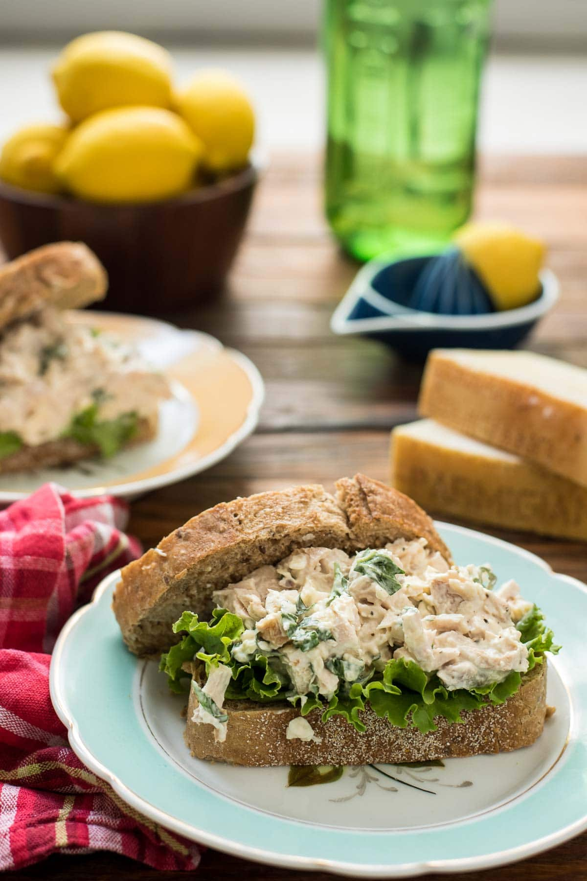 This Parmesan Basil Chicken Salad is a great summer sandwich.