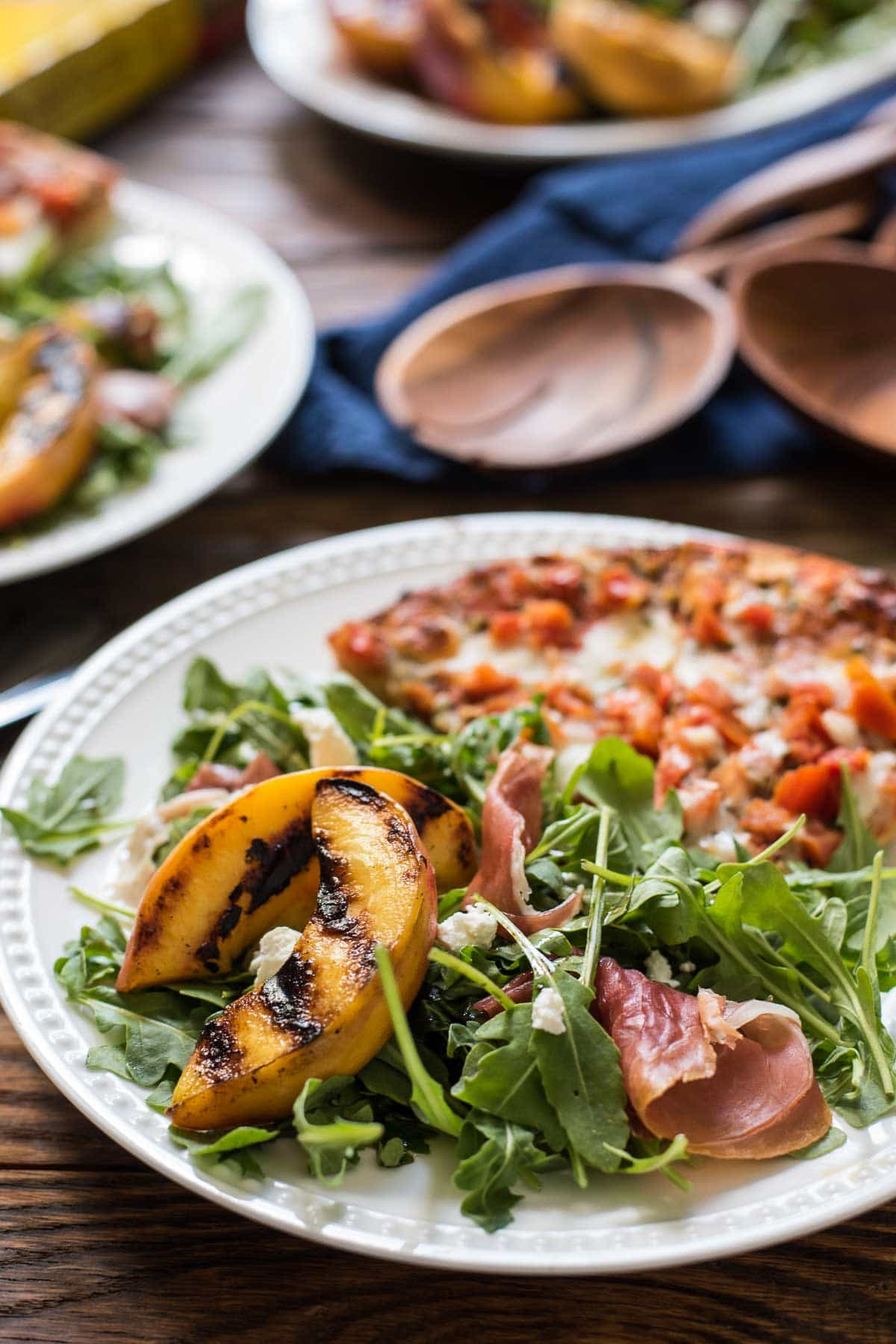 Grilled Peach and Arugula Salad with Prosciutto