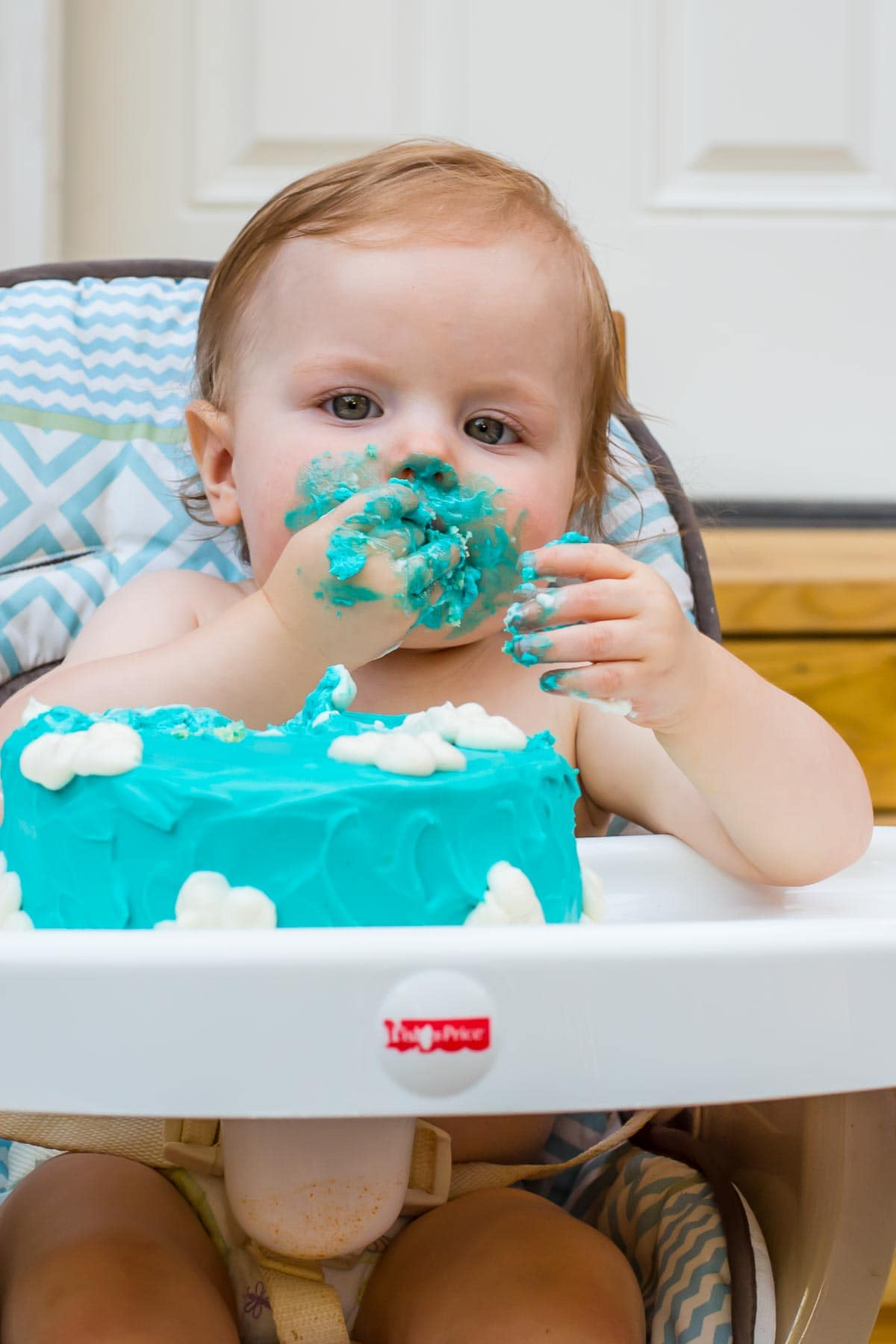 Our little guy loved the cloud cake we made for his airplane themed birthday party!