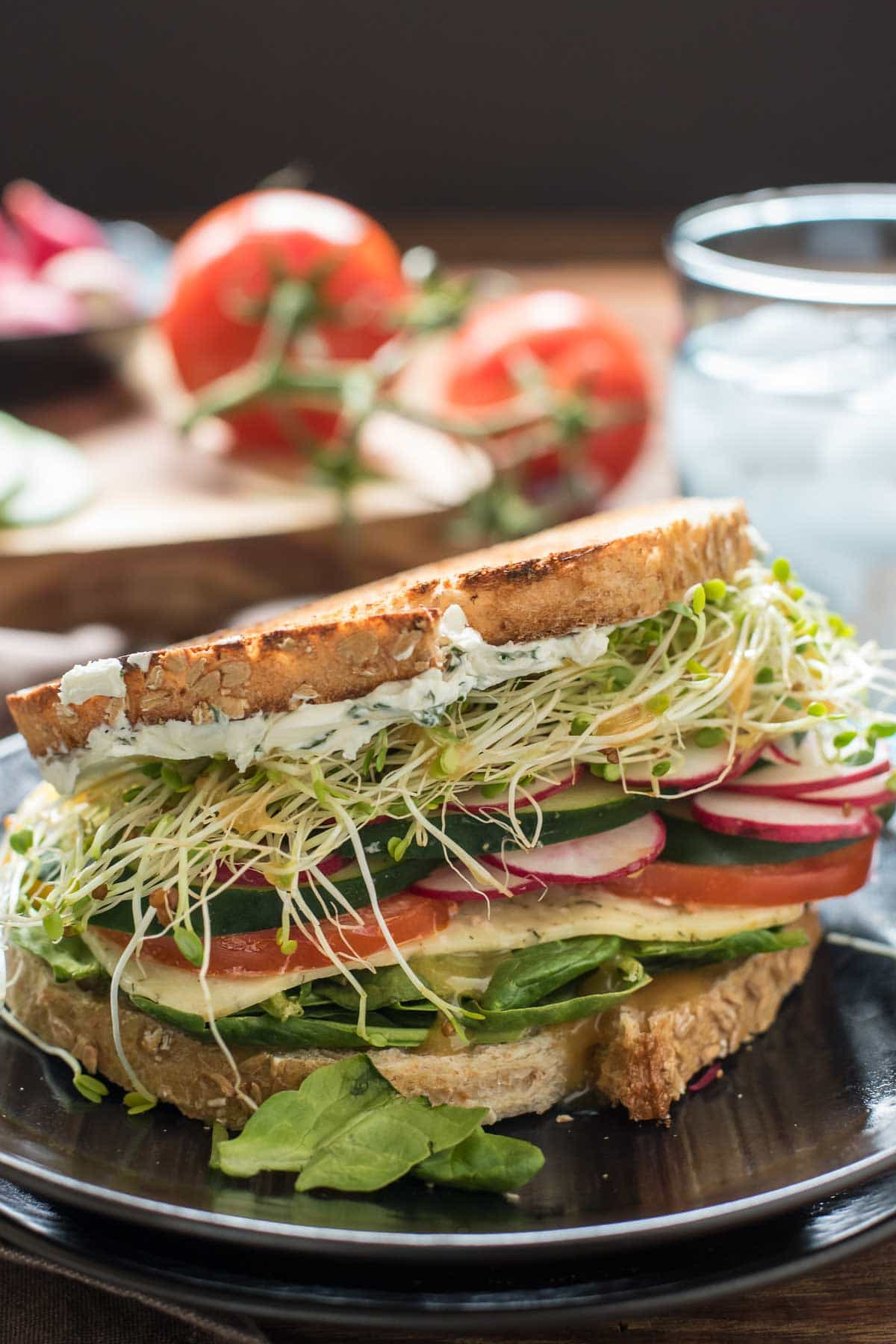 Herbed cream cheese and loads of summer vegetables make this the best veggie sandwich I've ever had!