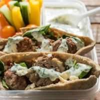 This Mediterranean Meatball Pita Sandwich is the perfect weeknight meal. The meatballs are great for freezing too!