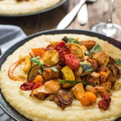 These Roasted Vegetable Polenta Bowls are made with the best late summer produce and accented by smoky paprika and cheesy polenta.