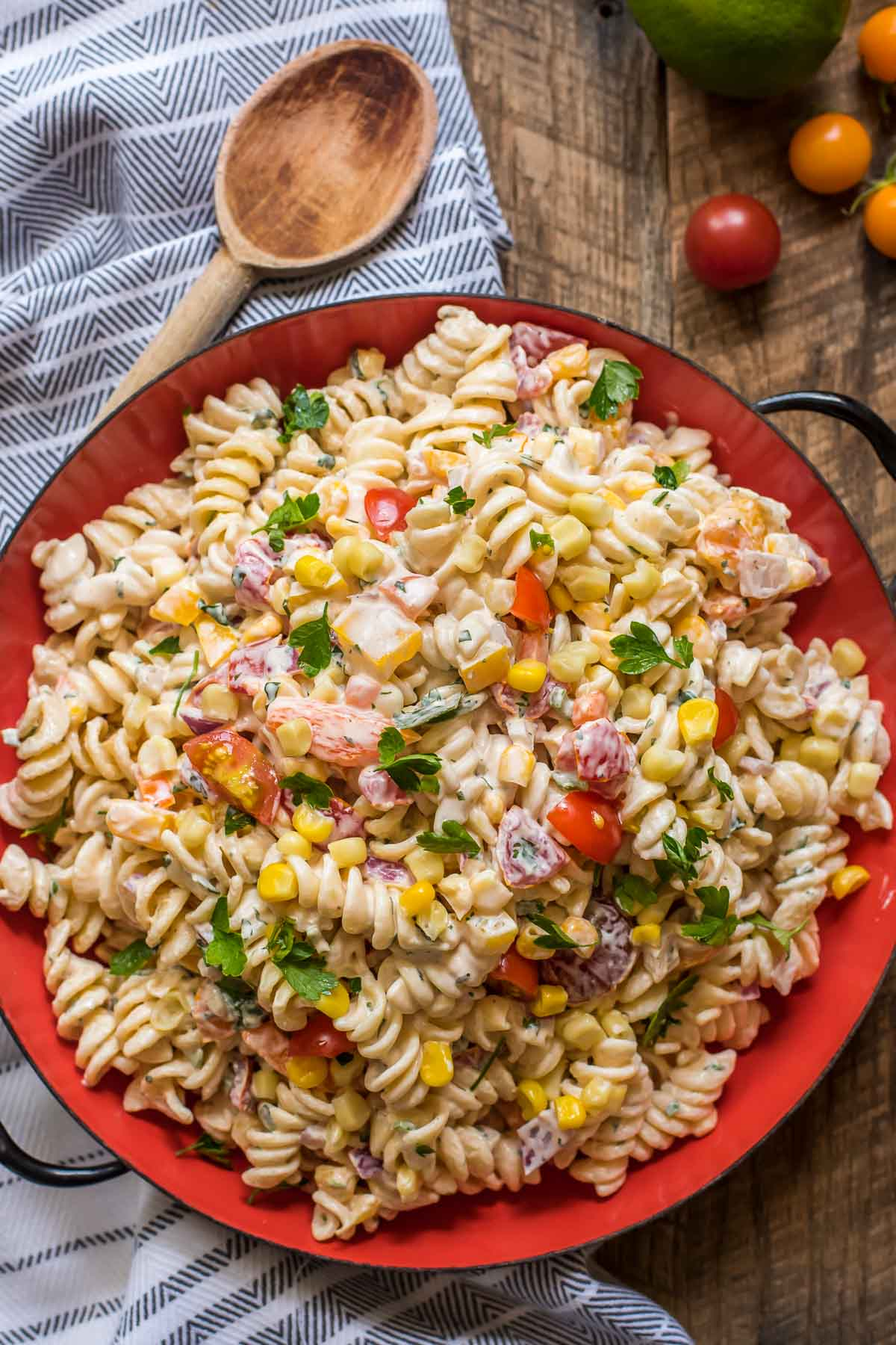 Guests will gobble up this Southwest Pasta Salad packed with late summer veggies, cilantro, and lime.