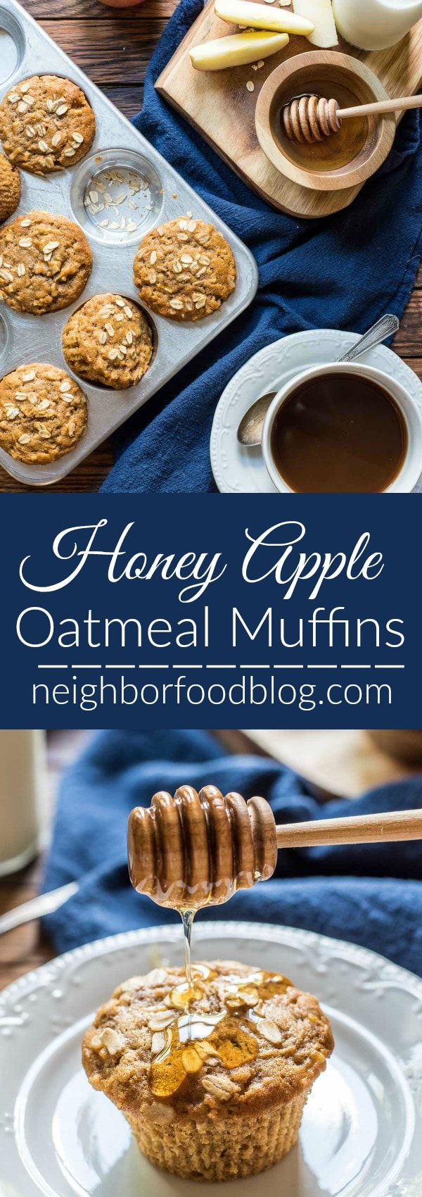 These Apple Oatmeal Muffins are spiced with cinnamon and lightly sweetened with honey for a lovely fall breakfast. They freeze great too!