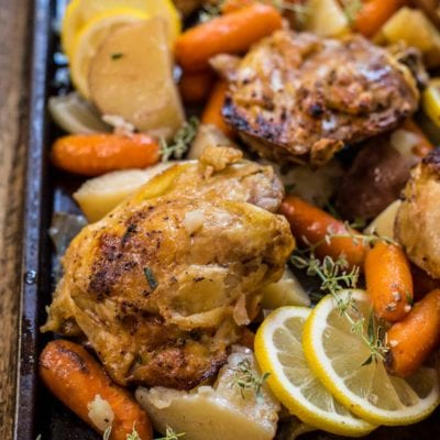 Everything gets thrown into the slow cooker for this easy Crock Pot Lemon Garlic Chicken and Veggies. It's a one pot meal everyone will love!