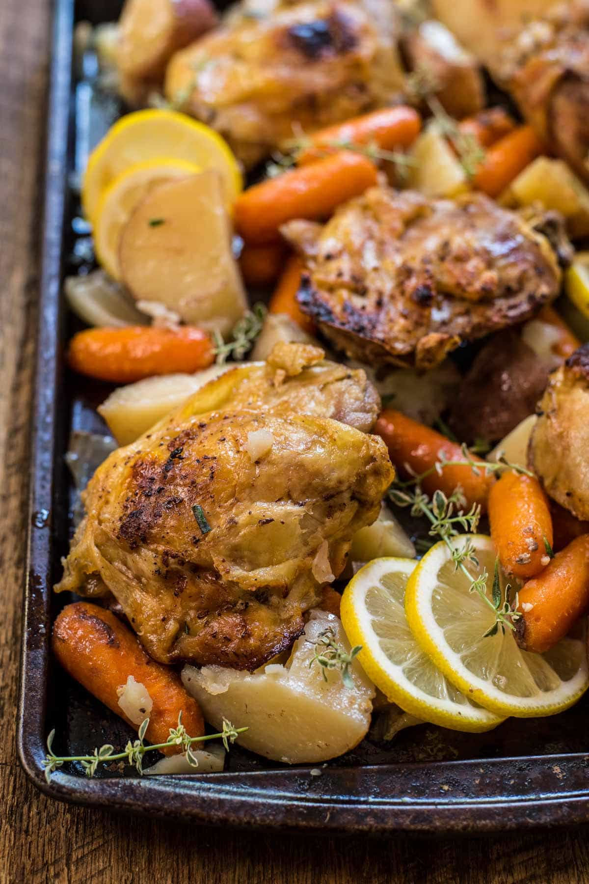 Slow Cooker Lemon Garlic Chicken on a sheet pan