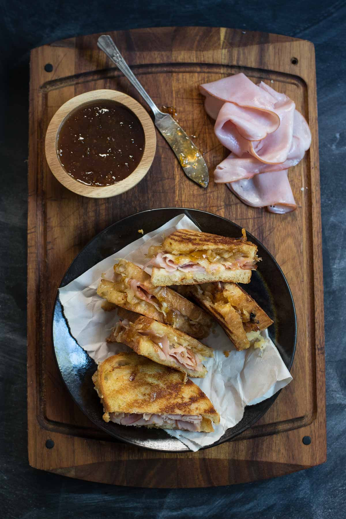 This Gruyere Grilled Cheese with Ham, Caramelized Onions, and Fig Jam is my new favorite grilled cheese combo!
