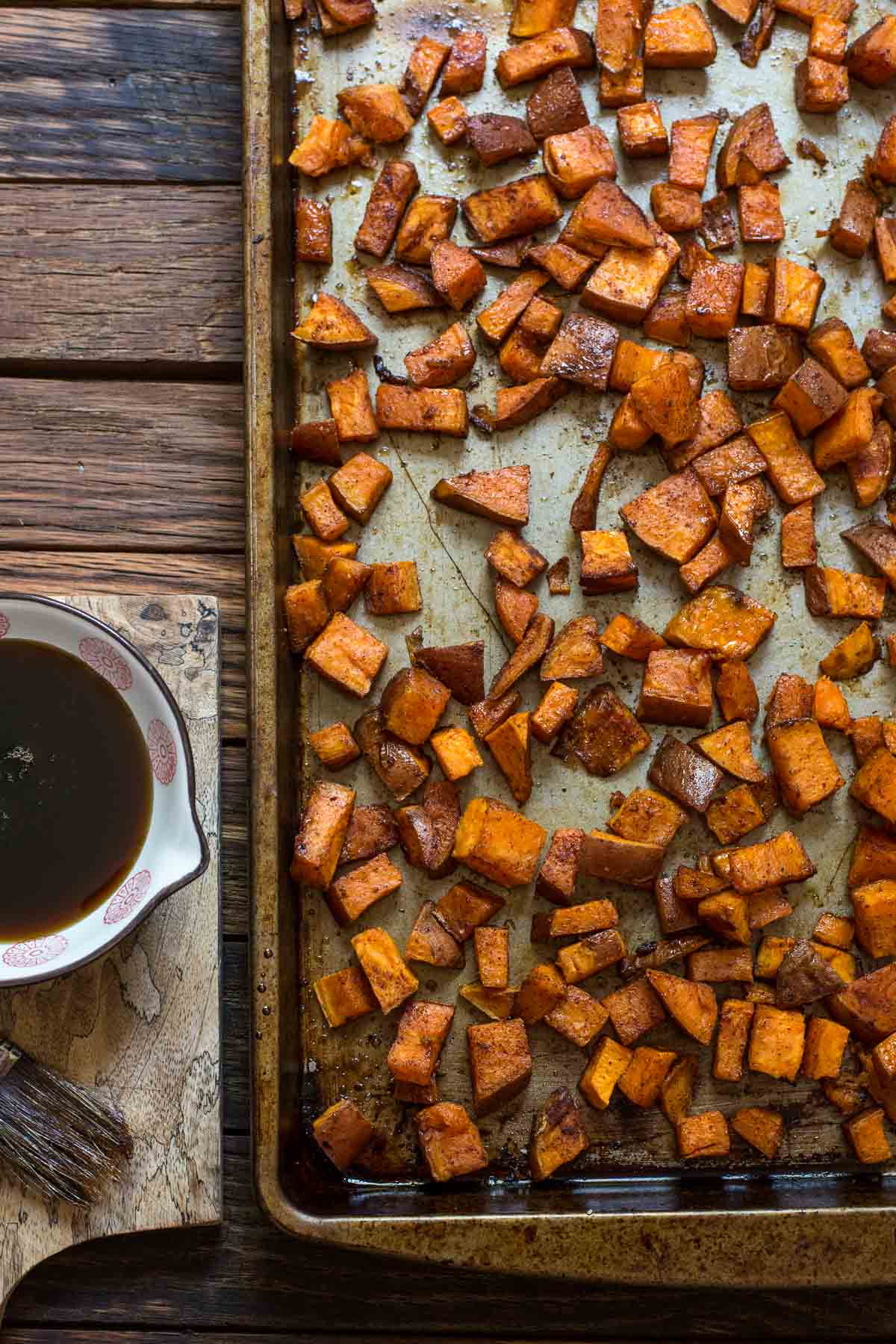 These Maple Roasted Sweet Potatoes are so tender, sweet, and delicious. It's the perfect fall side dish!