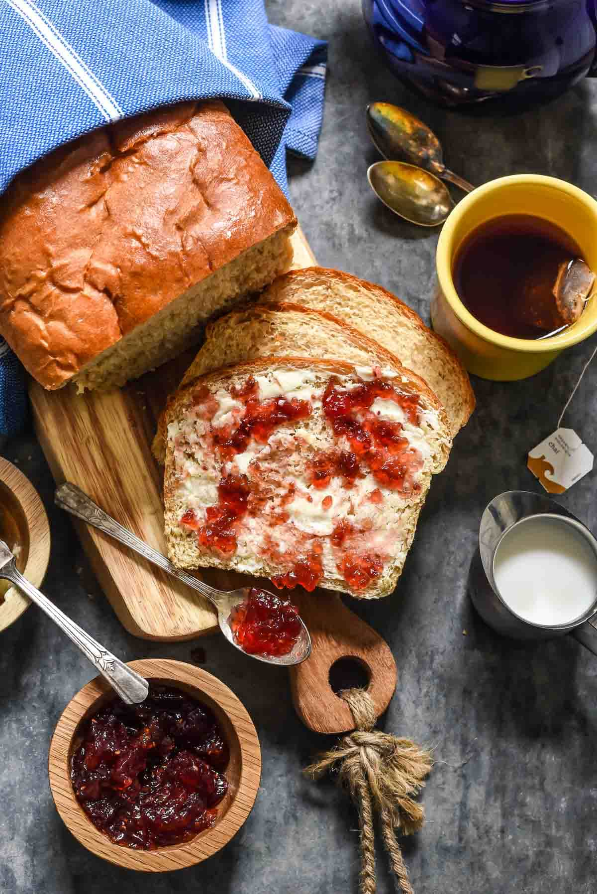 There's nothing better than homemade bread, and this Amish White Bread is our family favorite! Easy to make and perfect for sandwiches or jam!