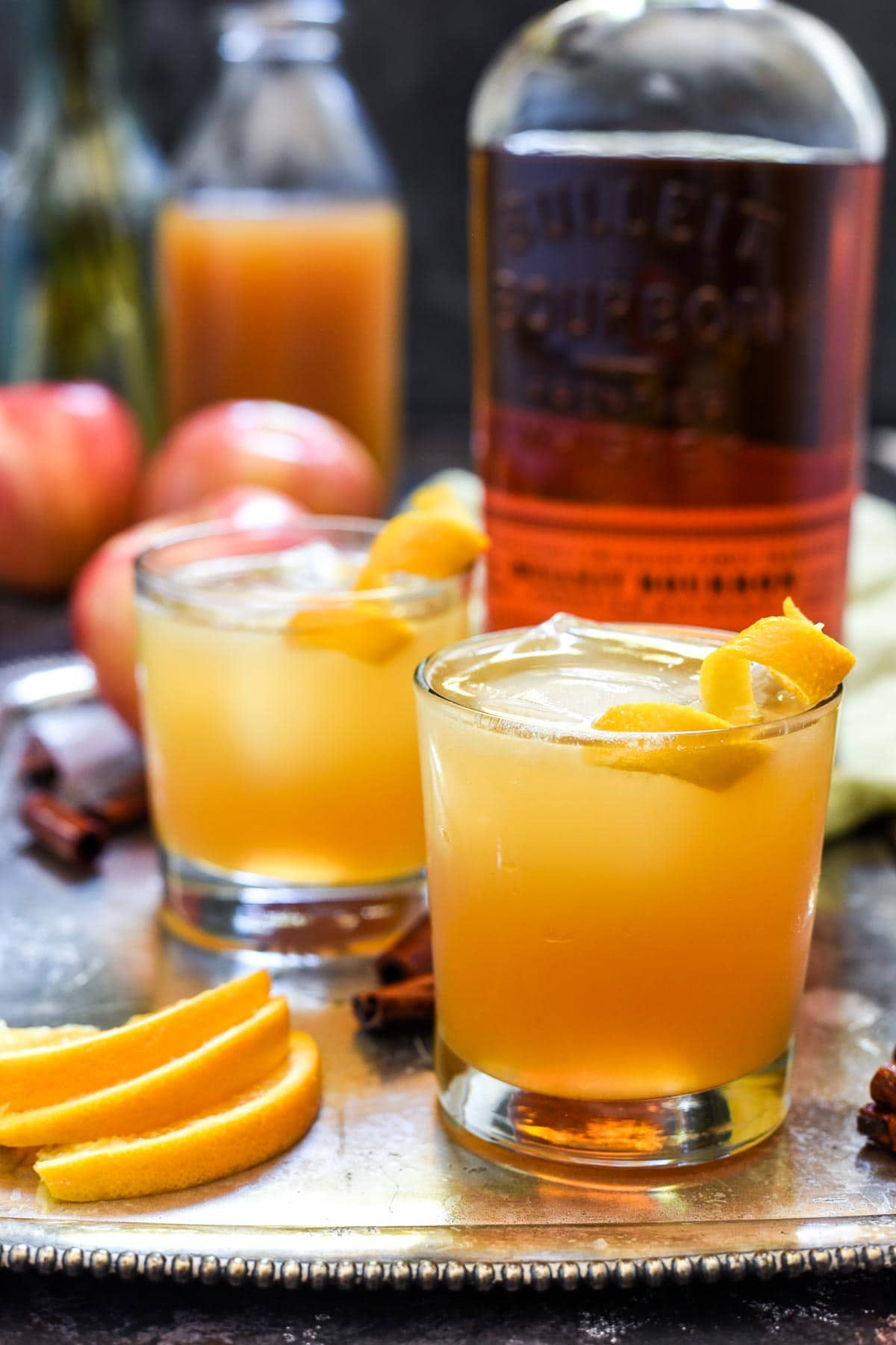 Bourbon, cider, and cinnamon syrup combine for the ultimate fall beverage: Bourbon Apple Cider Cocktails.