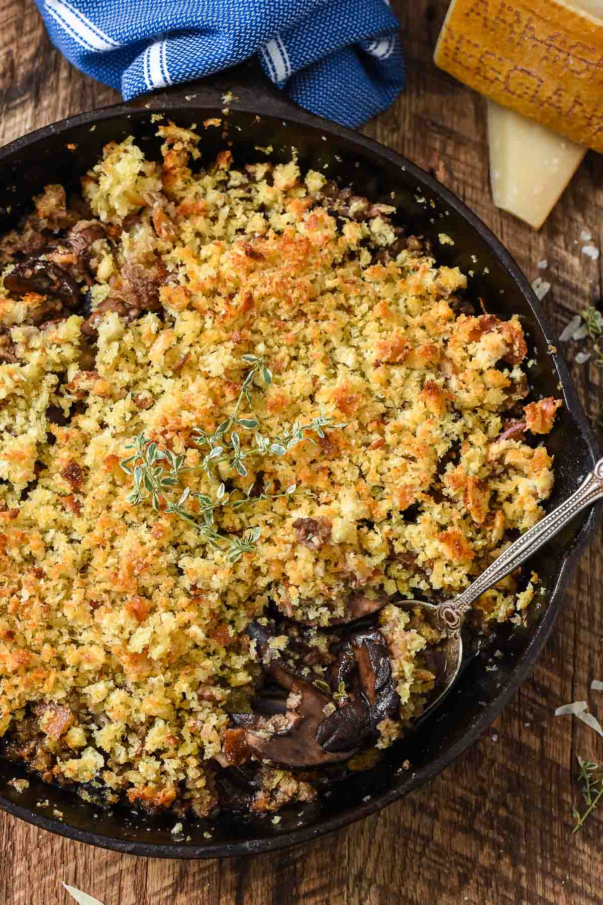 These Baked Mushrooms with Red Wine and Parmesan Breadcrumbs are the perfect side dish for the holidays or an elegant weeknight.