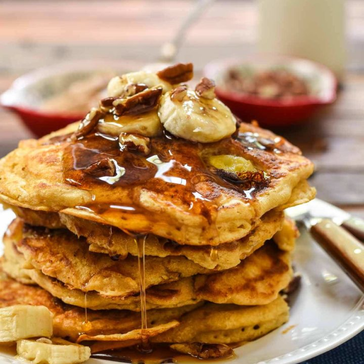 Nothing better than waking up to Banana pancakes with Toasted Pecans!