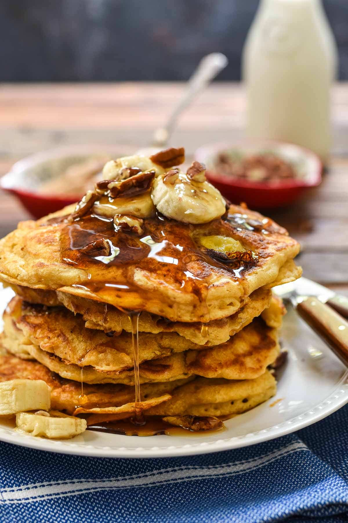 Banana Pancakes with Toasted Pecans