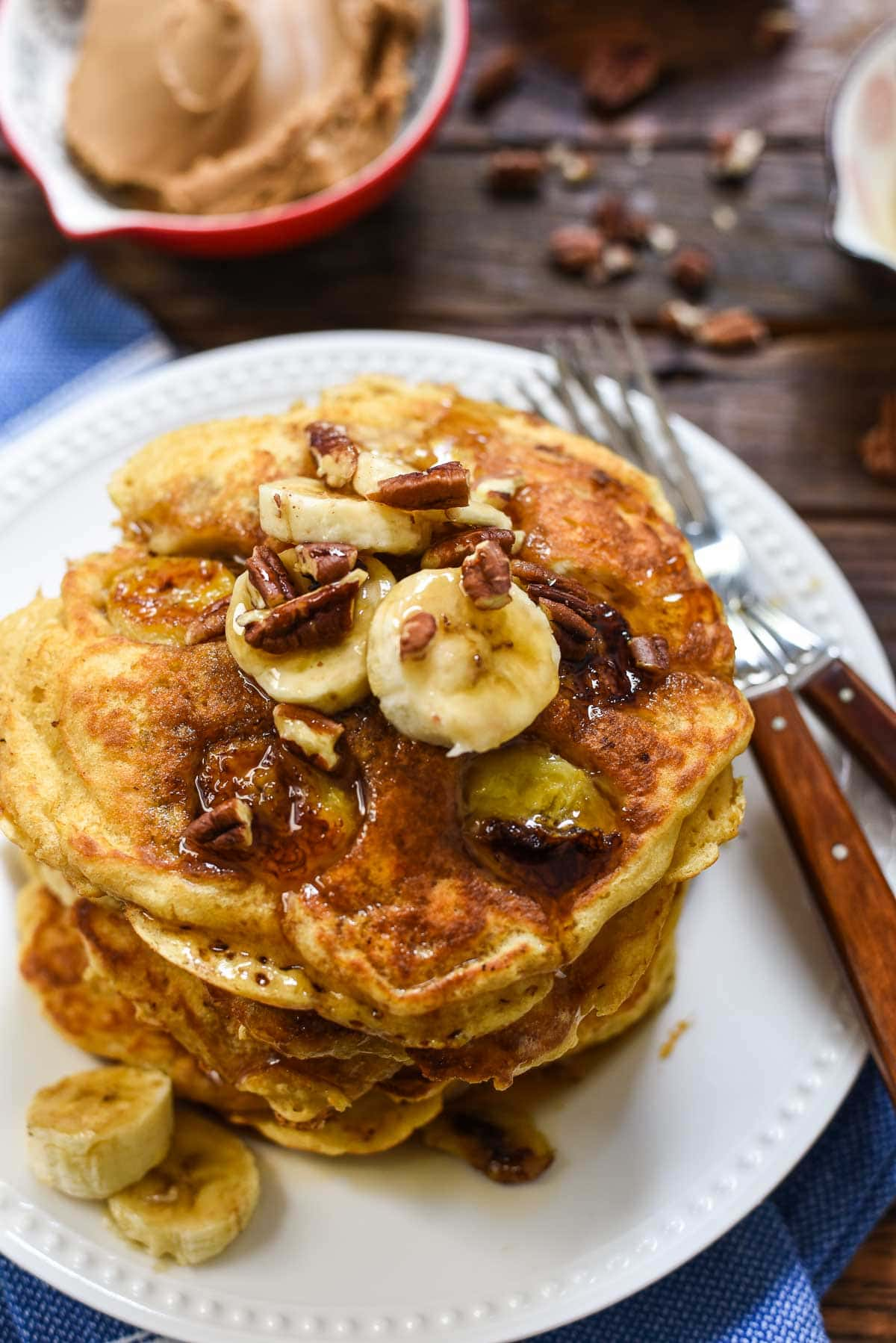 plate of banana nut pancakes