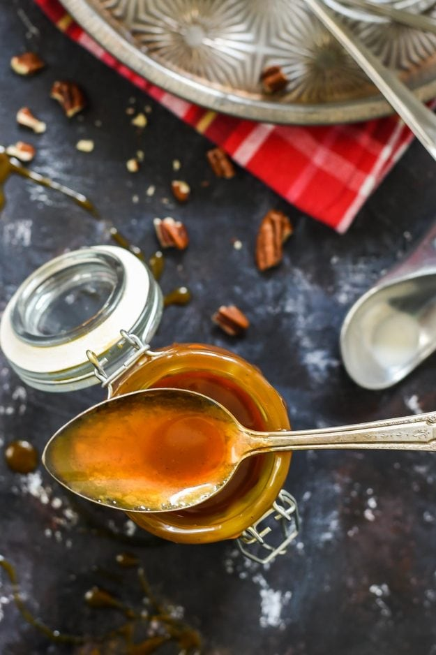 Homemade Salted Caramel Sauce takes all of your holiday desserts to the next level. It also makes a great DIY Christmas gift!