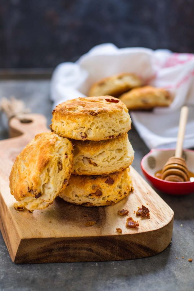 These Bacon Biscuits with a hint of honey will be a hit on your holiday tables.