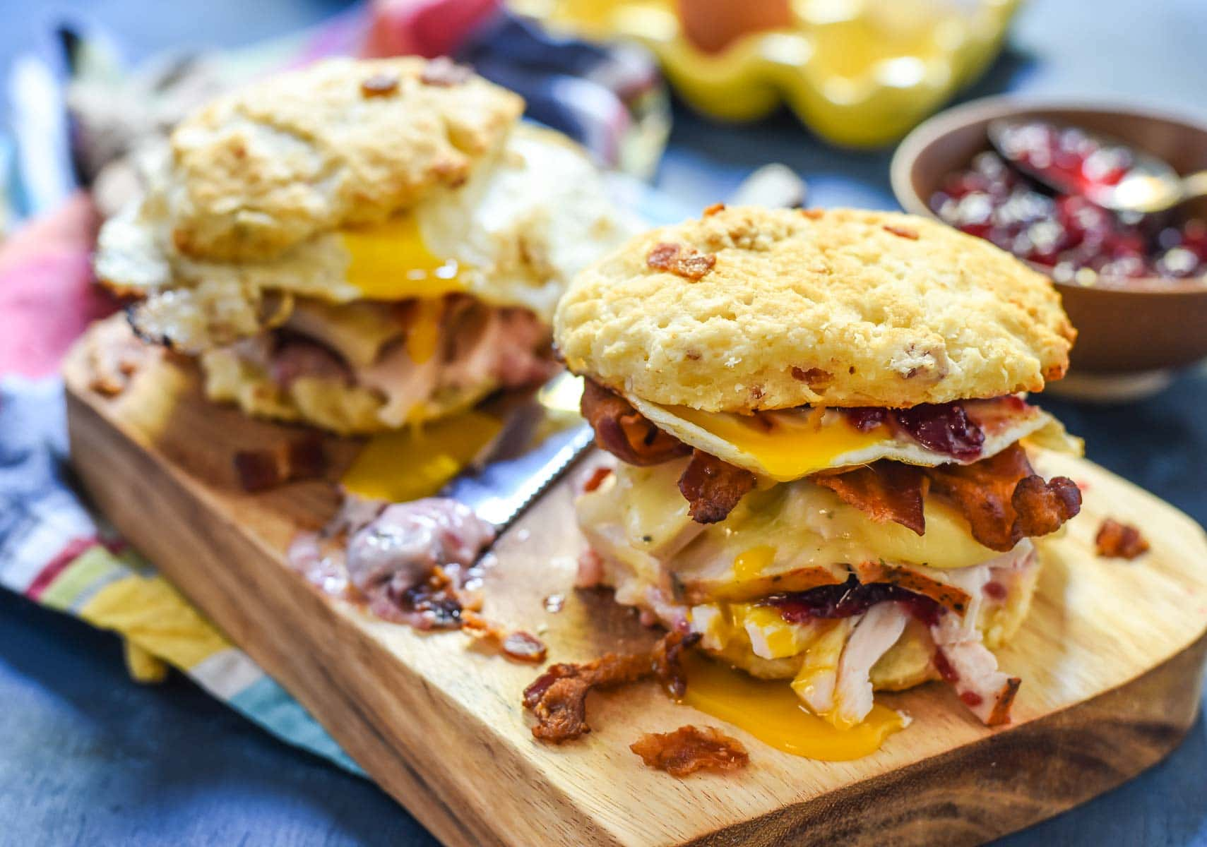 Turkey Egg and Bacon Breakfast Sandwich