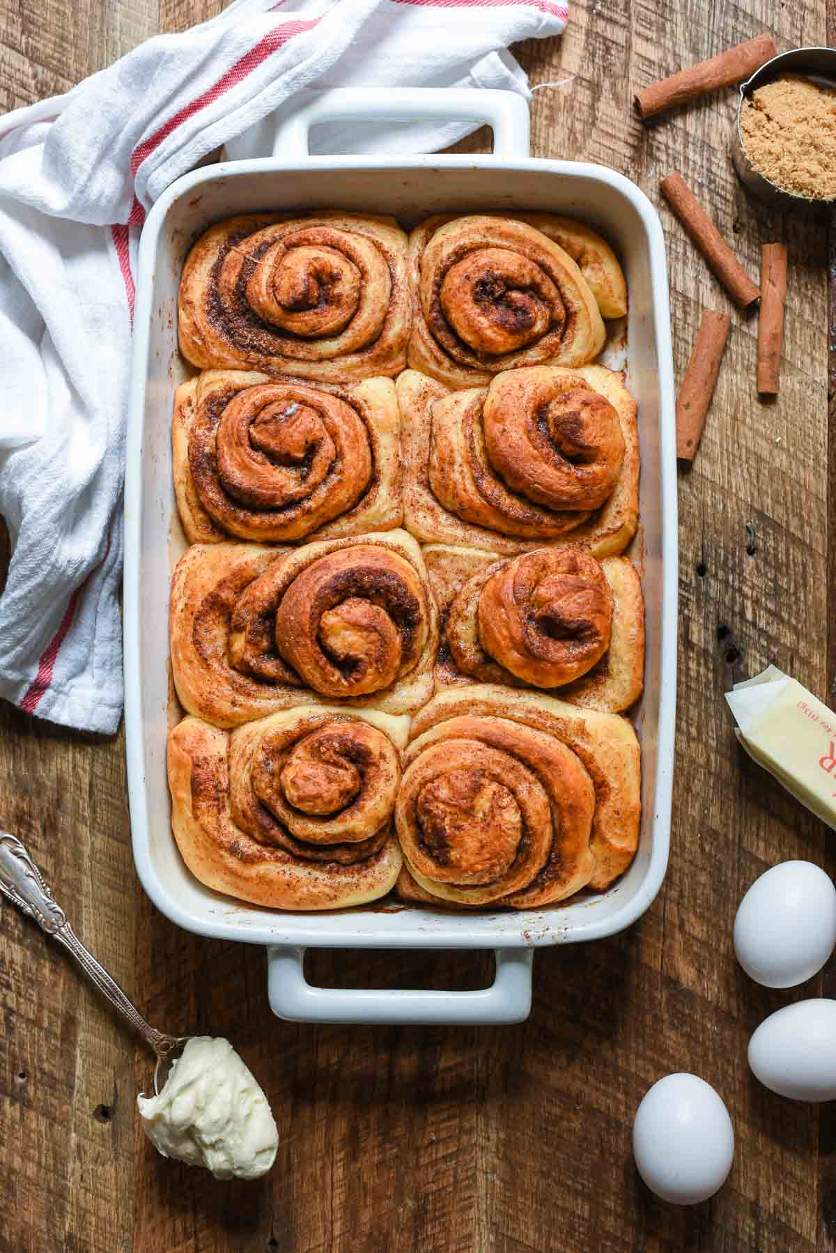 These big, fluffy, soft, and chewy Overnight Cinnamon Rolls are everything a cinnamon roll should be. Pair with cream cheese frosting for a breakfast treat!