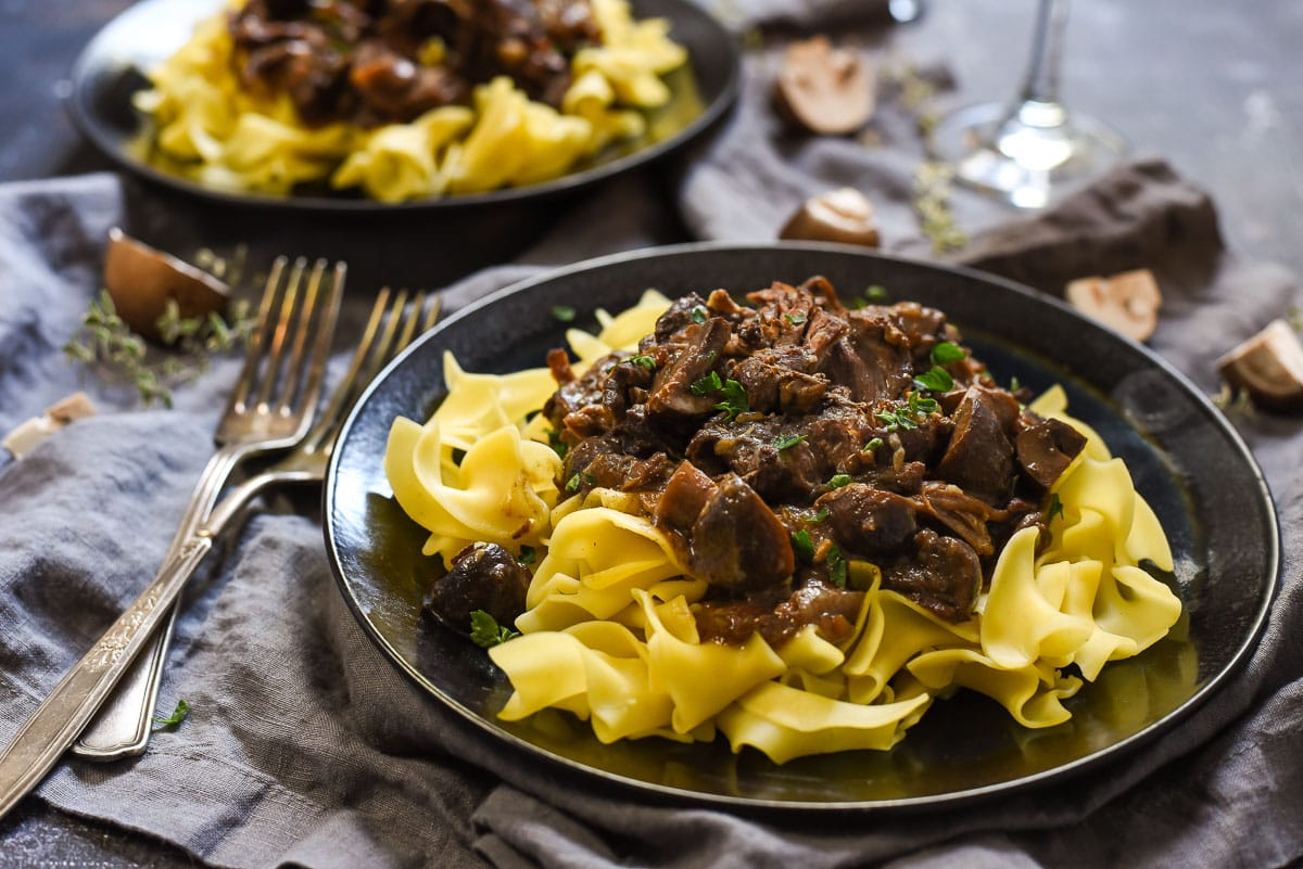 Red Wine Pot Roast with Mushrooms and Egg Noodles | Neighborfoodblog.com