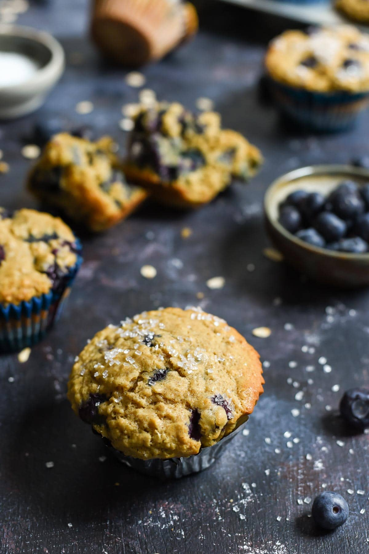 These Blueberry Oatmeal Muffins are hearty, healthy, and bursting with blueberries!