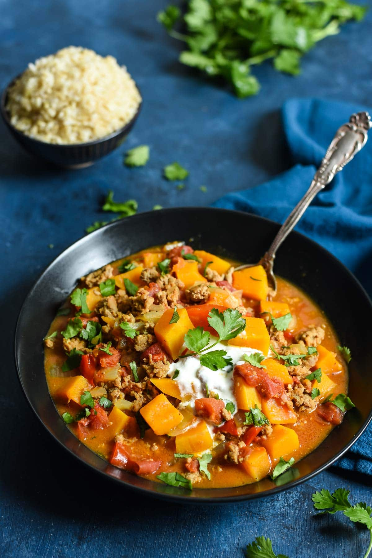 Save this Turkey and Butternut Squash Curry is loaded with flavor and a super comforting one pot meal.