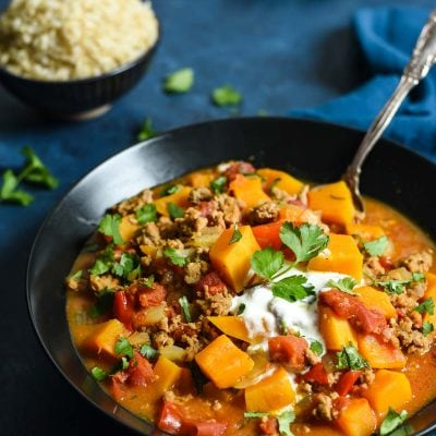 This Turkey and Butternut Squash Curry is a healthy, comforting one pot meal that's packed with flavor.
