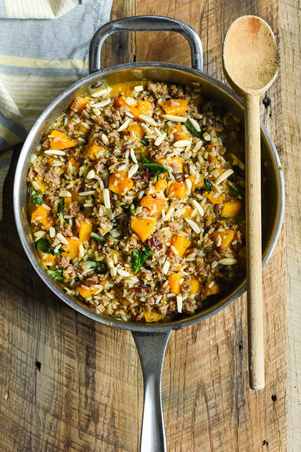 Skillet Sausage and Rice with Butternut Squash | NeighborFood