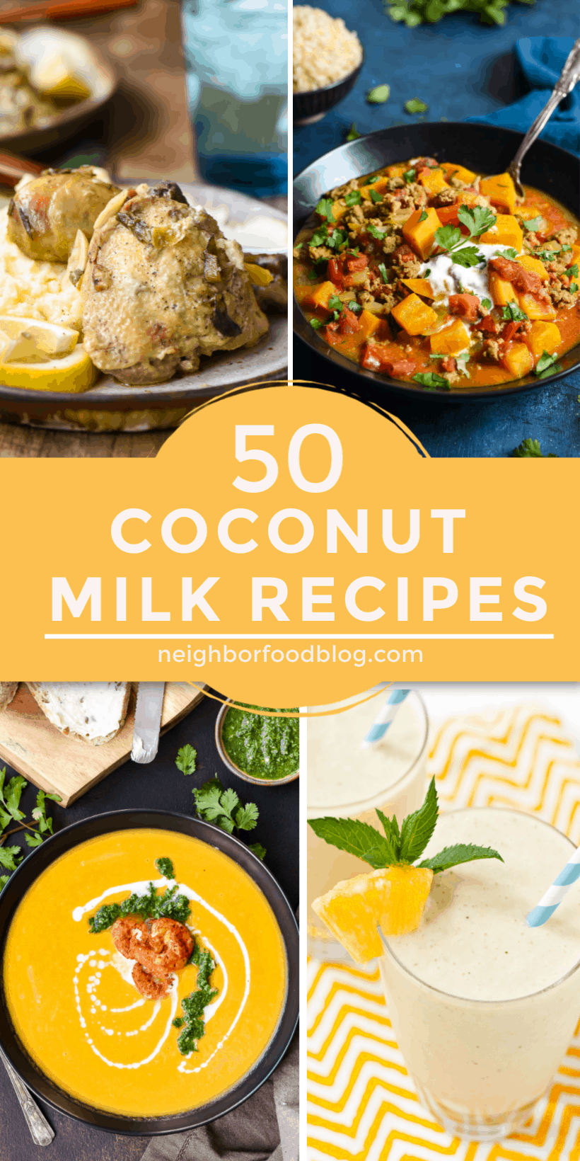 coconut milk recipes in a collage