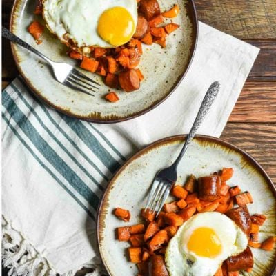 This Maple Roasted Sweet Potato and Chicken Sausage Hash is a great healthy breakfast or easy sheet pan dinner.