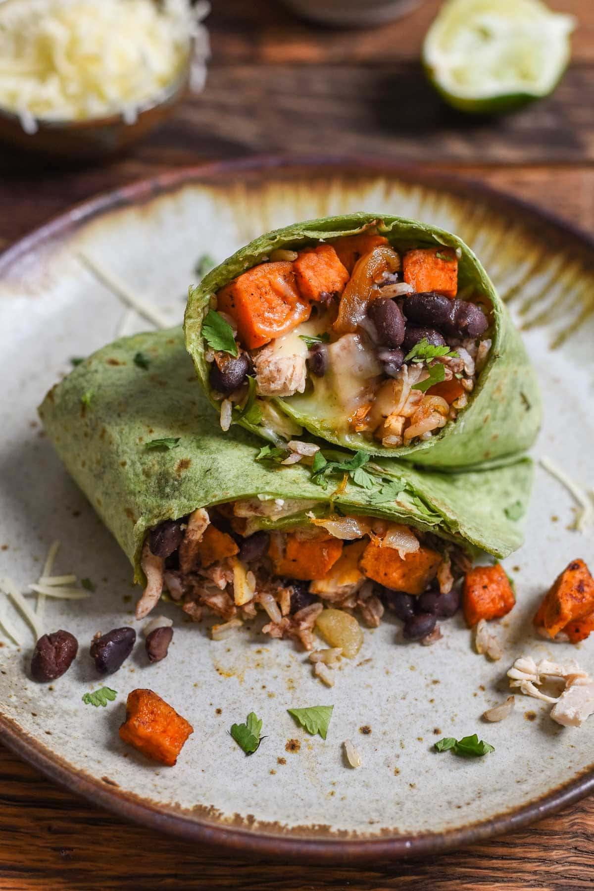 Sweet Potato Black Bean Burritos are my go-to freezer burrito for quick lunches or easy dinners. The post also includes loads of tips for turning your leftovers into freezer burritos!