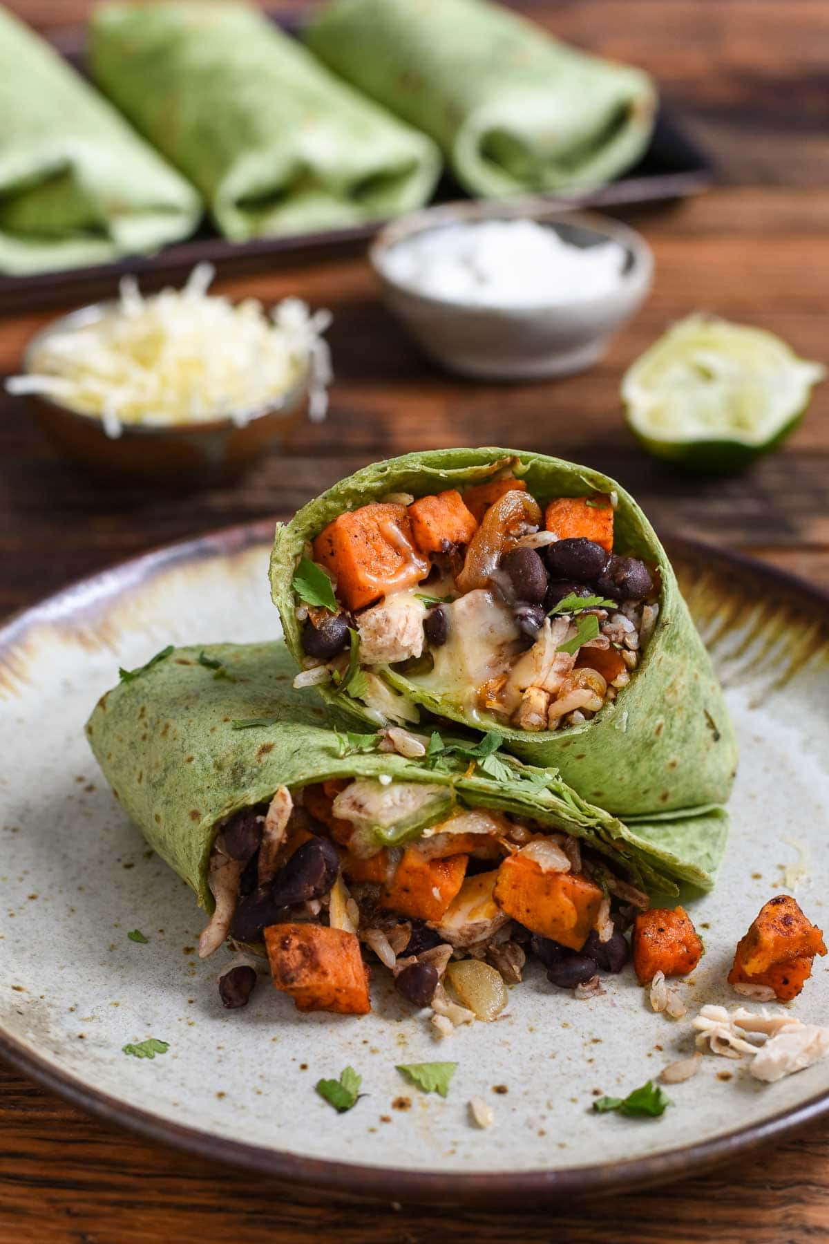 Sweet Potato Black Bean Burritos are a great way to turn your leftovers into a protein packed freezer meal!